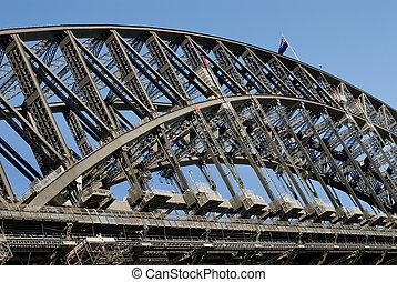 The huge steel structure of the Harbour Bridge, Sydney, Australia