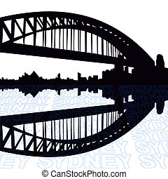 Sydney Harbour Bridge with perspective text outline...