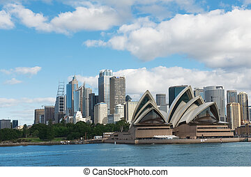 Sydney harbour - skyline of Sydney with city central...