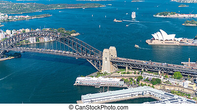 Sydney Harbour. Stunning aerial view on a sunny day