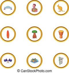 Sydney icons set, cartoon style