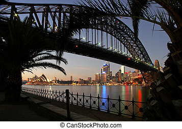 sydney landmarks at night, opera house, cbd and sydney...