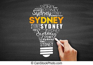 Sydney light bulb word cloud