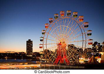 Sydney Luna Park - Sydney's Luna Park ferris wheel at sunset...