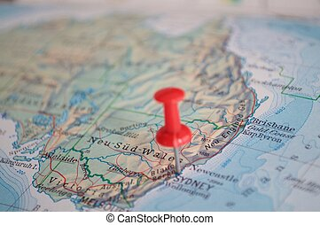 Sydney marked with pin on map