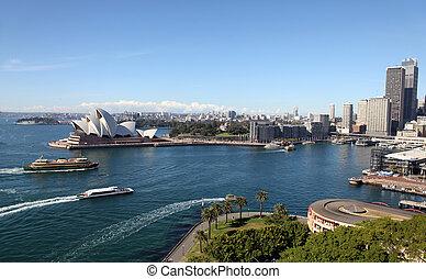 sydney, muelle circular, vista, puerto, bridge., australia
