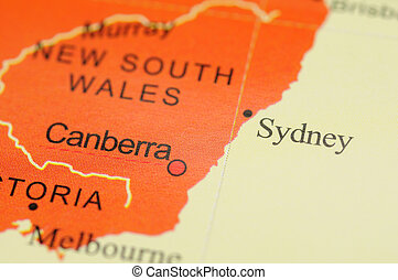 Sydney on map