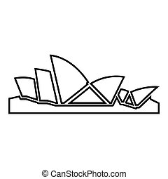 Sydney Opera House icon black color illustration flat style...