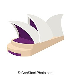 Sydney Opera House icon, cartoon style