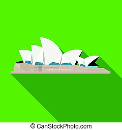 Sydney Opera House icon in flat style isolated on white...