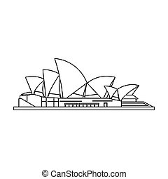Sydney Opera House icon in outline style isolated on white background. Countries symbol stock vector illustration.