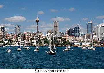 Sydney sky-scrapers - Australia, Sydney seafront with sky-...