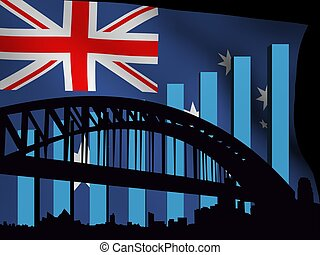 Sydney skyline and graph over flag