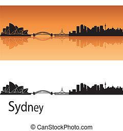 Sydney skyline in orange background in editable vector file