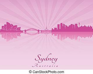 Sydney skyline in purple radiant orchid