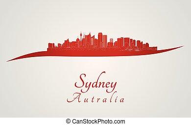 Sydney skyline in red