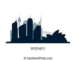 Sydney skyline, monochrome silhouette.