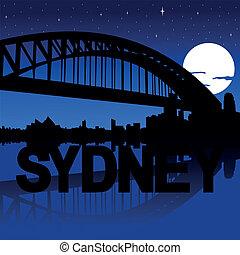 Sydney skyline moon illustration