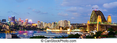 Sydney Skyline - Observatory Hill Panorama - Sydney Harbour...