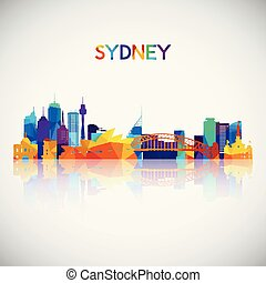 Sydney skyline silhouette in colorful geometric style.