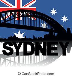 Sydney skyline text flag