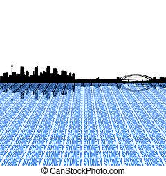 Sydney skyline with text