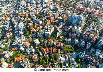Sydney suburb from the air - City neighbourhood, suburb in ...