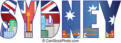 Sydney Text Outline with Skyline Color Illustration