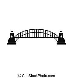 sydney tillflyktsort överbrygg, ikon, enkel, stil