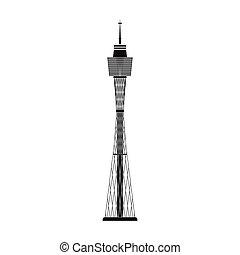Sydney Tower icon in black style isolated on white background. Australia symbol stock vector illustration.