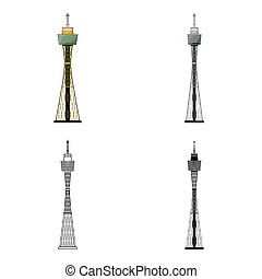 Sydney Tower icon in cartoon style isolated on white background. Australia symbol stock vector illustration.