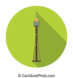 Sydney Tower icon in flat style isolated on white background. Australia symbol stock vector illustration.