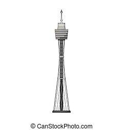 Sydney Tower icon in monochrome style isolated on white background. Australia symbol stock vector illustration.