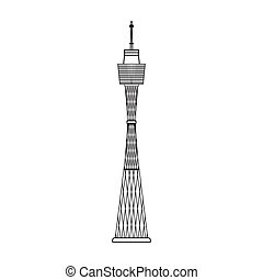 Sydney Tower icon in outline style isolated on white background. Australia symbol stock vector illustration.