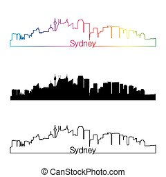 Sydney V2 skyline linear style with rainbow in editable...