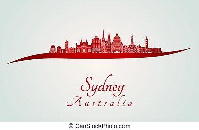 Sydney V3 skyline in red