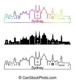 Sydney V3 skyline linear style with rainbow