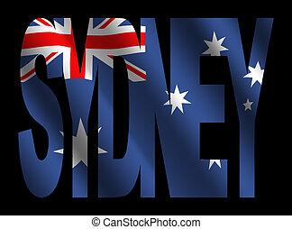 Sydney with Australian flag