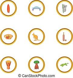 Sydney zoo icons set, cartoon style