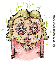 syg, cartoon, kvinde
