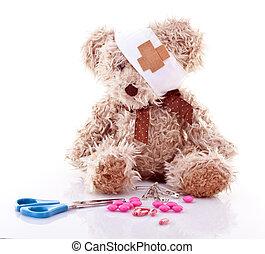 syg, teddy, hos, først hjælpemiddel, hen, hvid baggrund