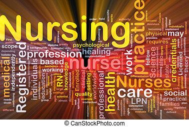 sygepleje, baggrund, begreb, glødende