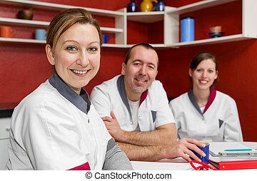 sygepleje bemand, gør, en, kaffe brud