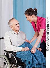 sygeplejerske, caring, omkring, mand disabled