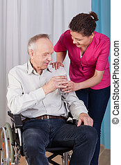 sygeplejerske, giver, vand et, mand disabled