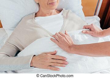 sygeplejerske, og, senior, patient