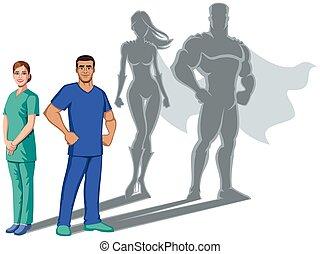 sygeplejerske, skygge, superheroes