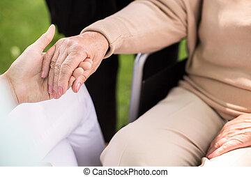 sygeplejerske, understøtte, disabled kvinde
