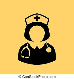 sygeplejerske, vektor, ikon