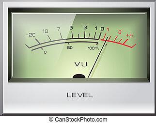 sygnał, wektor, analog, vu, metr